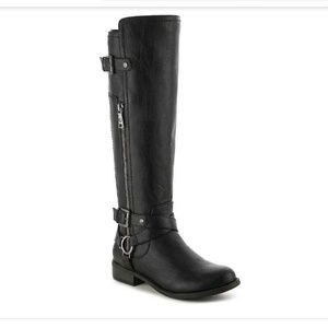 G by Guess Hurley Wide Calf Riding Boots Black